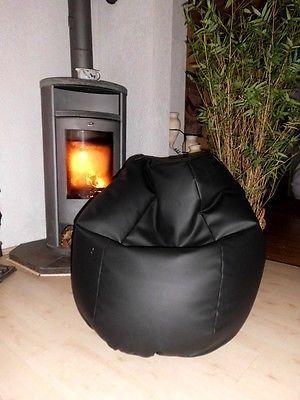 Sitzsack Aus Leder sitzsack lederoptik schwarz mit microperlen gefüllt