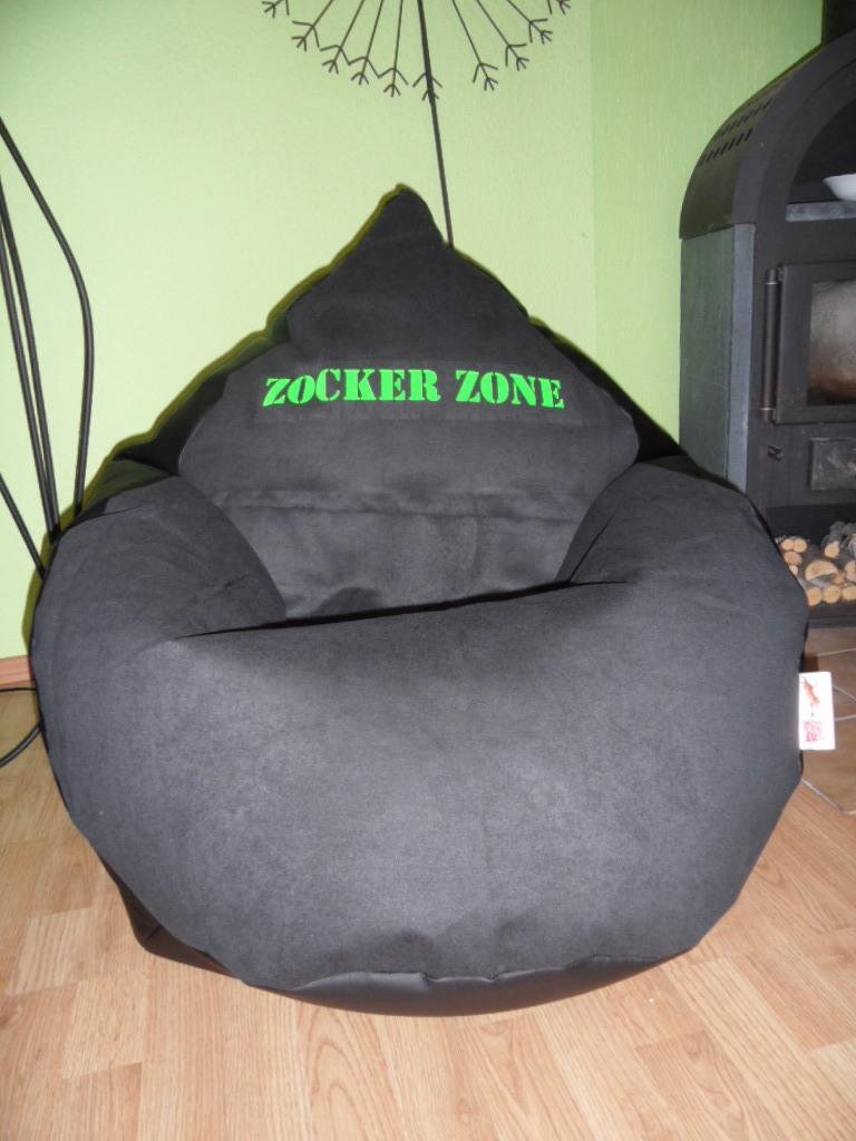 Sitzsack Von Lux L Gamer Zocker Zone Lederoptik Schwarz Druck